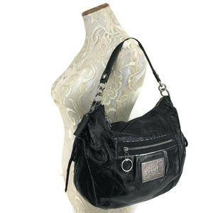 COACH Poppy Leather Jazzy Hobo Shoulder Bag Black